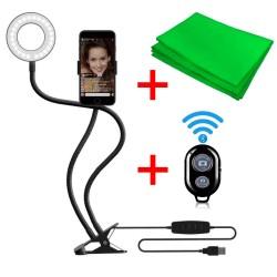 Ring Light Com Suporte Celular, Controle Bluetooth e Croma Key