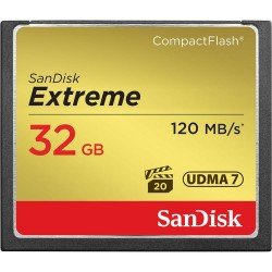 Cartão Compact Flash 32Gb SanDisk Extreme 120MB/s (800X) UDMA 7 Full HD