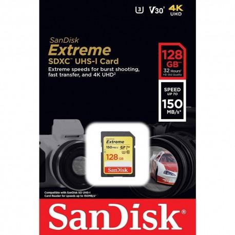Cartão Sd Sdxc 128GB Sandisk Extreme 150mb/s U3 Lacrado