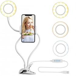 Selfie Ring Light com Suporte para Celular com Luz e Braços Flexíveis - Branco