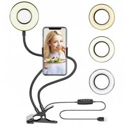Selfie Ring Light com Suporte para Celular, Luz e Braços Flexíveis